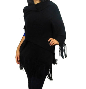 Alpaca Wrap Shawl Solid Color (Black)