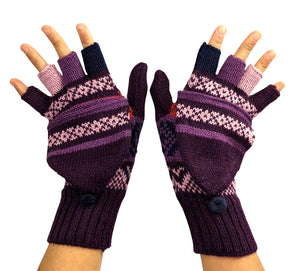 Alpaca  Gloves Purple  Color Convertible Mittens