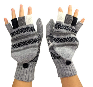 Alpaca  Gloves Light Gray Color Convertible Mittens