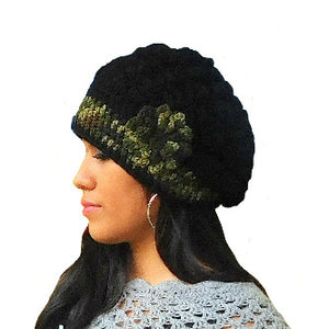 Beanie Slouchy Black Flower Hat