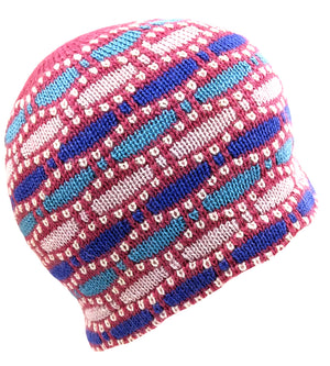 Alpaca Beanie Pink Multi Color One Size