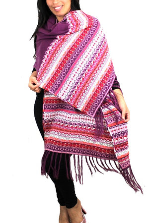 Alpaca Wrap Fringe Shawl Pink - Purple Color