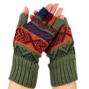 Alpaca  Gloves Green Color