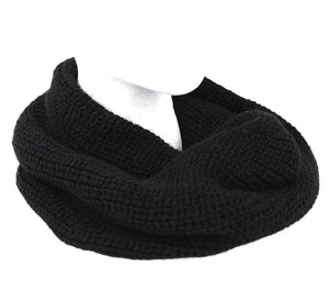 Alpaca Wool Round Infinity Scarf Black Color