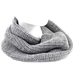 Alpaca Wool Round Infinity Scarf (Light Gray)