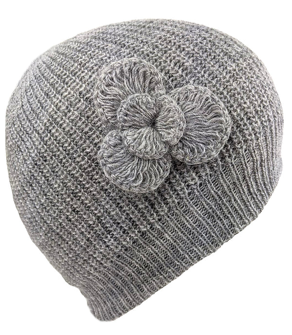 Alpaca Beanie Solid Gray Color Hat One Size