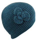 Teal Beanie Flower Alpaca Hat