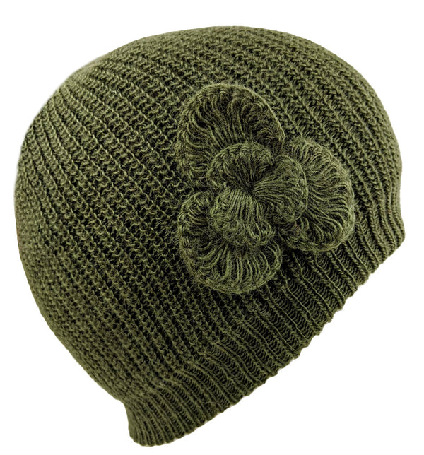 Green Beanie Flower Alpaca Hat