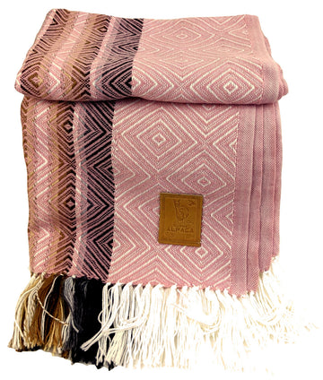 Alpaca  Wool Throws Blanket Pink
