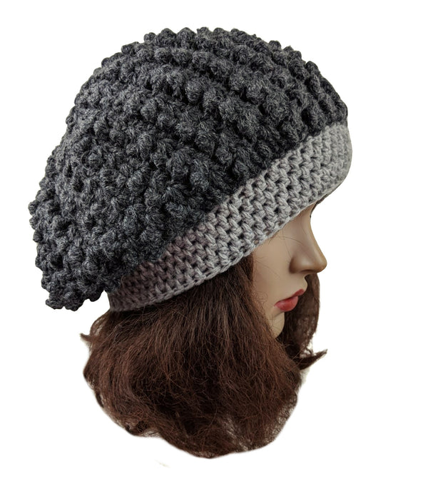 Alpaca Wool Beret Handmade Gray Color