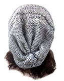 Slouchy Knitted Beanie  Light Gray One Size