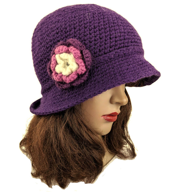 Handmade Flapper Purple Flower Beanie