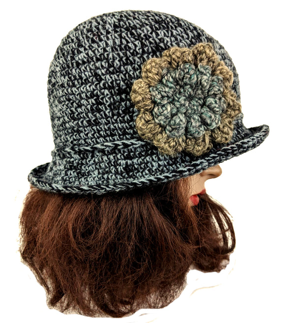 Acrylic Gray Mix Flapper Beanie One Size