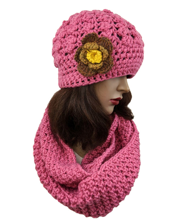 Handmade  Beanie & Scarf Set Pink Color