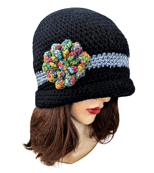 Acrylic Handmade Flapper Flower Black Wool Hat
