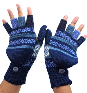 Alpaca  Convertible Mittens Blue Color
