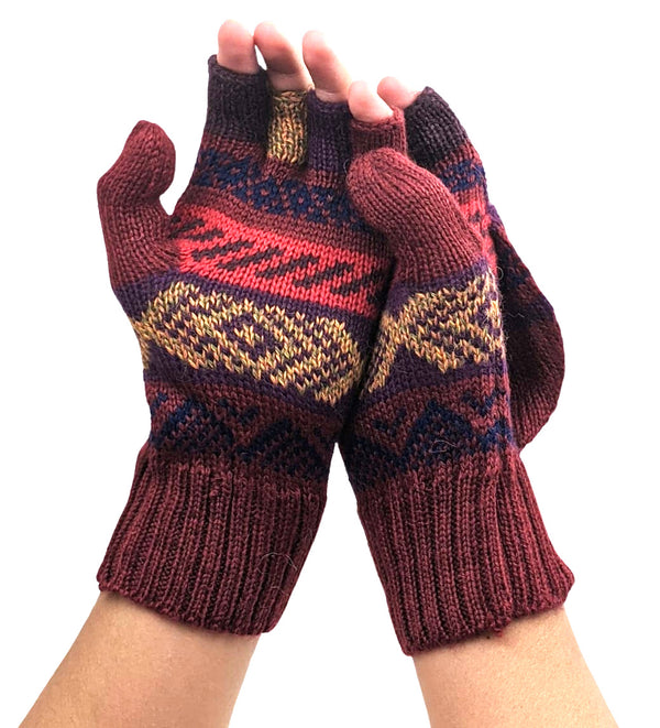 Alpaca  Convertible Mittens Burgundy Color