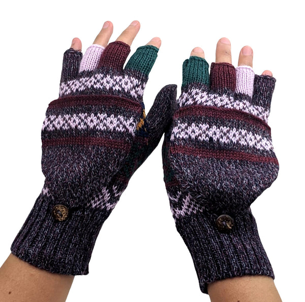 Alpaca  Convertible Mittens Multi Color