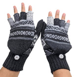 Alpaca  Gloves Gray color Convertible Mittens