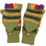 Alpaca  Convertible Mittens Green Color