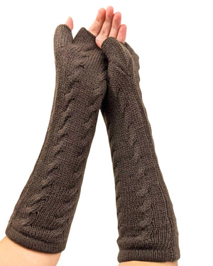 Finger - Less Alpaca Women's Gloves (Brown)
