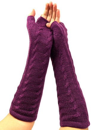 Finger - Less Alpaca Women's Gloves Purple Color
