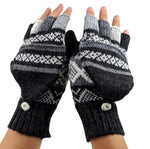 Alpaca Convertible Mittens - Dark Gray