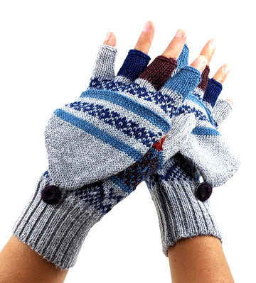 Alpaca  Harbor Gray Convertible Mittens