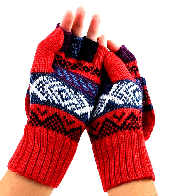 Alpaca Finger - Less Mittens Red Color