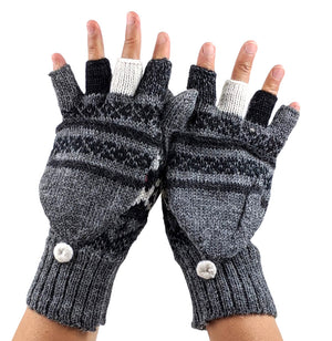 Charcoal Alpaca  Gloves Convertible Mittens