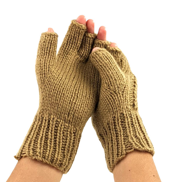 Beige Color Mittens Knitted Handmade