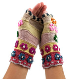 Handmade Finger - Less Floral Gloves