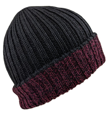 Men's Alpaca Beanie Black Solid Color