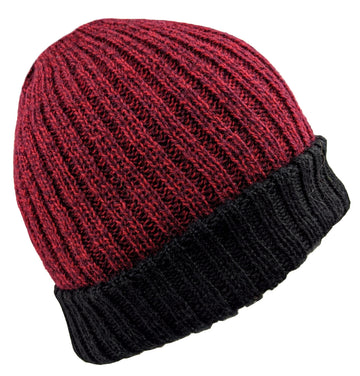Men's Alpaca Beanie Red Wine Solid Color