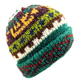 Wool Beanie Flapper Hat Green Multi