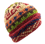 Red Wool Multi-Color Hat