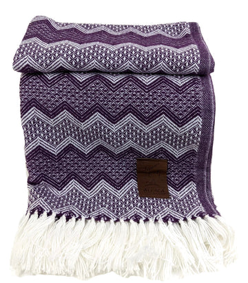 Alpaca Wool Throws Blanket Purple