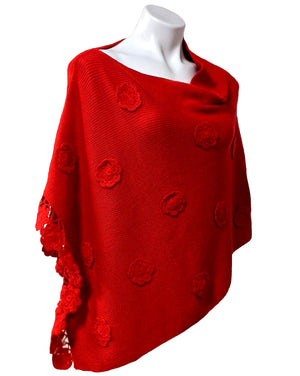 Women's Cape Flower Poncho