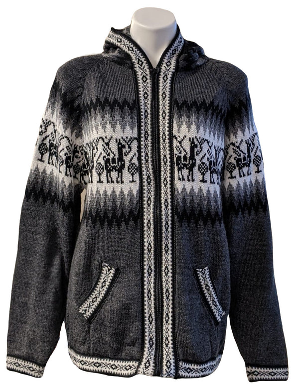 Alpaca Sweater Cardigan (Dark Gray)