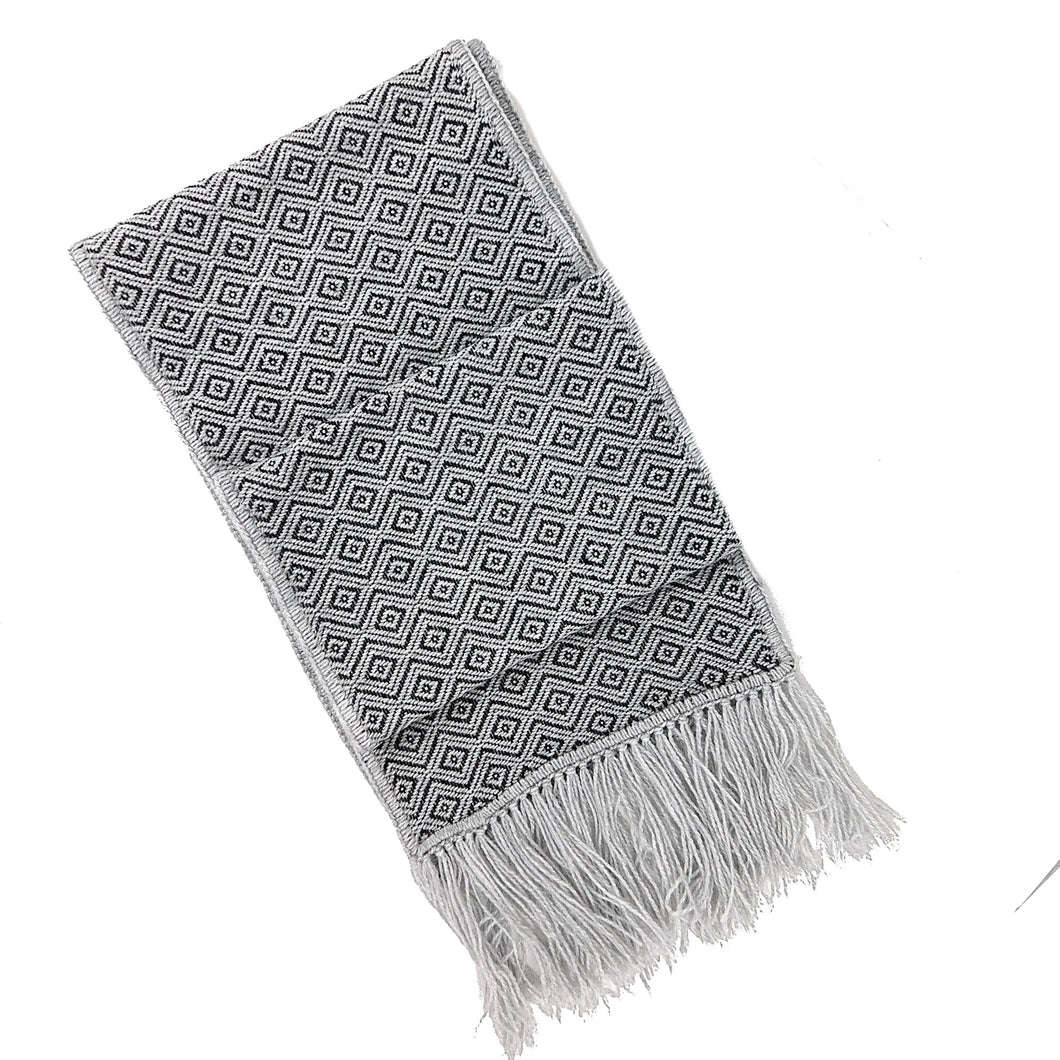 Geometric Fringe Scarf (Dark Gray)