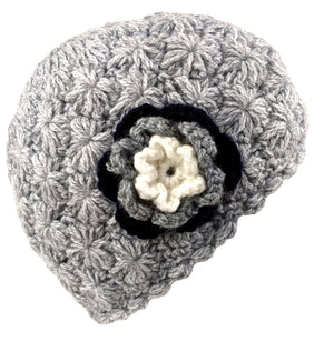 Flower Alpaca Beanie Gray Color