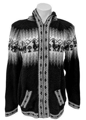 Alpaca Sweater Cardigan (Black Color)