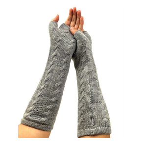 Women's Alpaca Finger-Less Gloves Gray Color