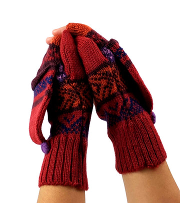 Alpaca Gloves  Convertible Mittens - Red