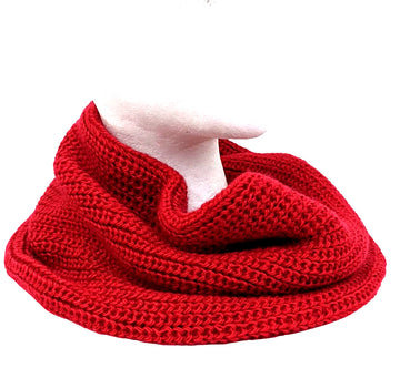 Alpaca Wool Round Infinity Scarf Red