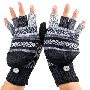 Alpaca  Convertible Mittens Black Color