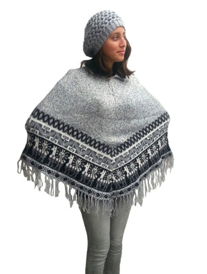 Alpaca Shawl One Size Regular Poncho Shawl (Gray)