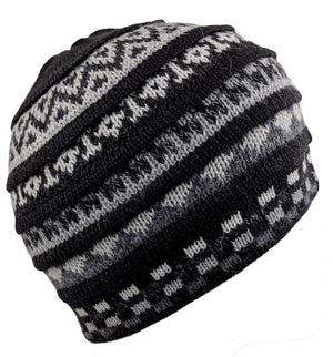 Alpaca Beanie Winter Hat Gray Jet Black