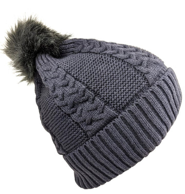 Pom-Pom Hat High Quality Lava Gray Color
