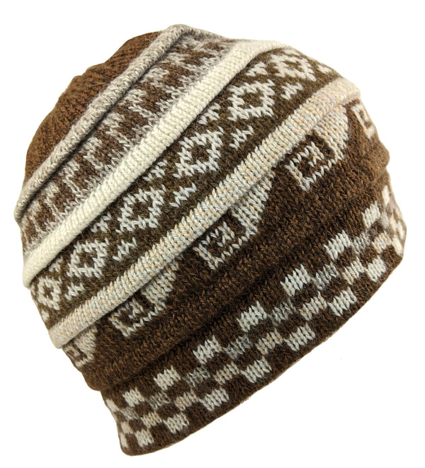 Alpaca Beanie Hat Brown Color